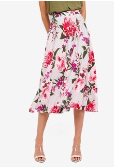 7a22d55d918155 Dorothy Perkins grey Grey Floral Skirt 8971CAAD8B5789GS_1