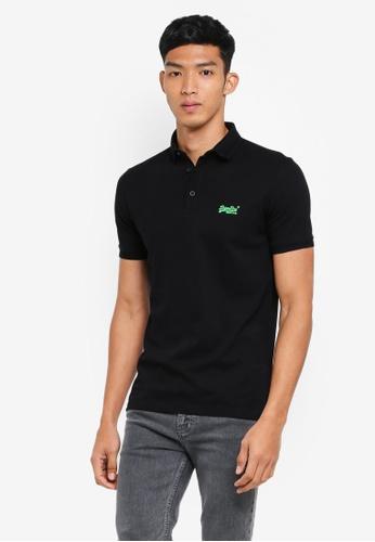 Superdry black City Super Lite Pique Polo Shirt 78390AABE1A68FGS_1