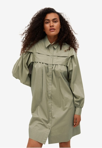 Mango 綠色 棉 襯衫洋裝 BBCDEAAD6163B5GS_1