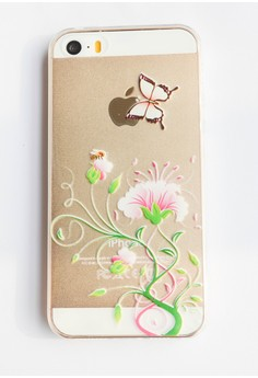 Flowers, Butterfly and a Bee Soft Transparent Case for iPhone 5, 5s, SE