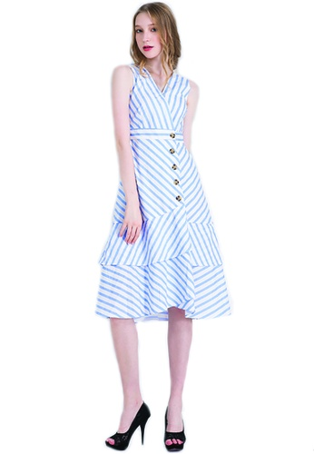 e2824ed4ba Buy ICONIC Striped Ruffled Midi Dress with button feature Online on ZALORA  Singapore