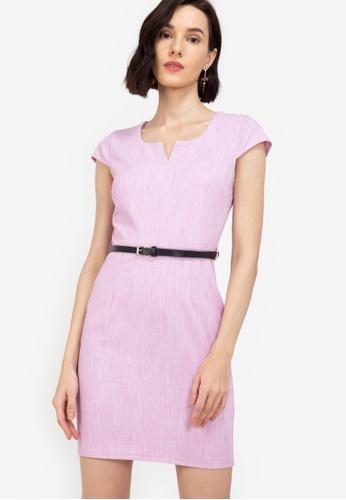 ZALORA WORK purple Cap Sleeve Dress With PU Belt 95A35AA7402D60GS_1