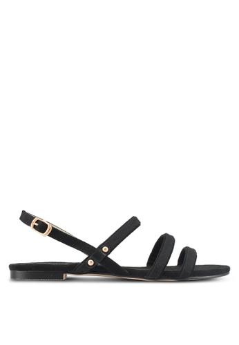 ZALORA black Canvas Detail Sandals 900C5SH4078C20GS_1