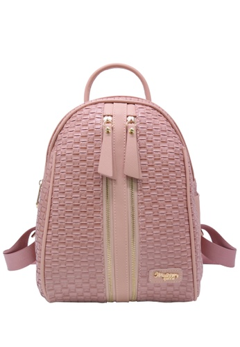 STRAWBERRY QUEEN pink Strawberry Queen Dual Front Zipper Rattan Backpack - Candy (Rattan B, Pink) 36CE6AC736F081GS_1