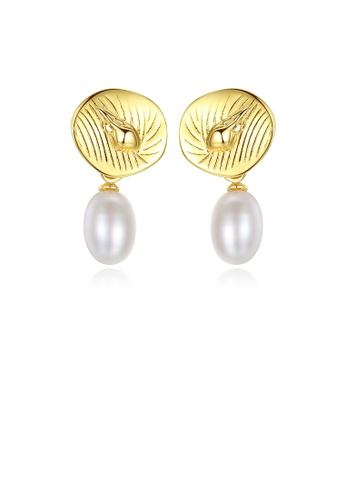 Glamorousky white 925 Sterling Silver Plated Gold Simple Fashion Conch White Freshwater Pearl Earrings 61E91AC348211CGS_1
