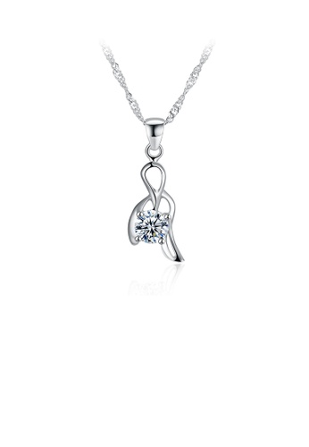 Glamorousky white 925 Sterling Silver Elegant Simple Delicate Hollow Out Pendant Necklace with Cubic Zircon 96147AC8322179GS_1