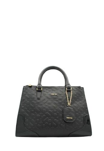 SEMBONIA black Rogue Initial Emboss Synthetic Leather Monogram Large Tote Bag (Black) SE598AC0RVVWMY_1