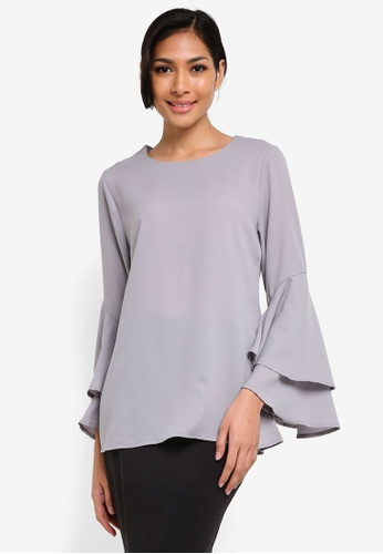 BYN grey Flare Sleeve Top BY059AA25VKWMY_1