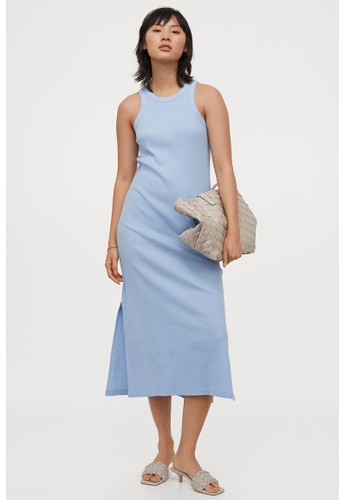 H&M blue Ribbed vest dress 08E7DAA8B77D89GS_1