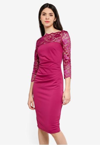 Goddiva 粉紅色 Fitted 洋裝 With Scalloped 蕾絲 Neckline DC961AA85DFCEBGS_1