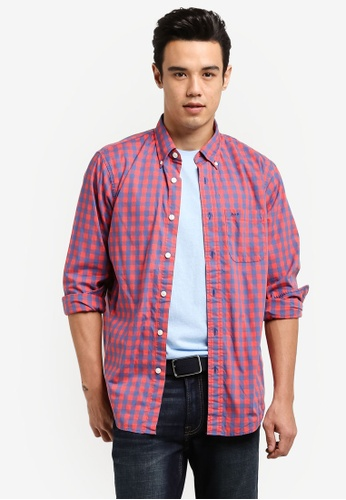 Abercrombie & Fitch red Poplin Shirt AB423AA0RCRZMY_1