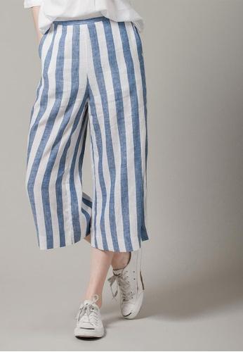 H:CONNECT blue Stripes Flair Trousers 3FAF8AA388DAADGS_1