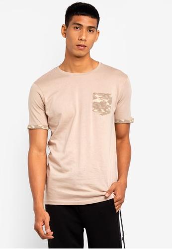 Brave Soul 灰色 迷彩胸前口袋圓領T恤 C77EDAA90A4076GS_1