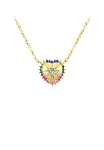 Glamorousky silver Simple and Fashion Plated Gold Heart Pendant with Cubic Zirconia and Necklace 26C1DAC59745C5GS_1
