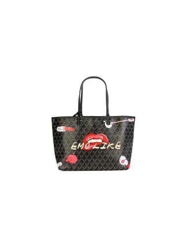 EMO black Korean fashion Brand‧Canine Graffiti Pattern Totebag (Large)-Black EE935ACDF5E851GS_1