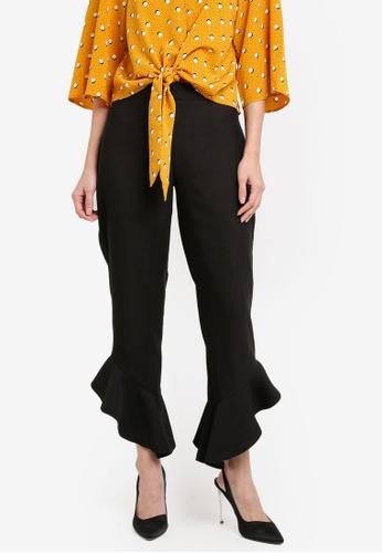 Miss Selfridge black Black Angle Ruffle Trousers MI665AA0T098MY_1