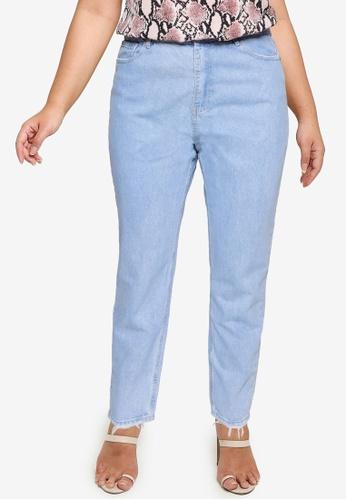 MISSGUIDED blue Plus Size Riot Highwaisted Distress Jeans 513B9AA3B8E4D0GS_1