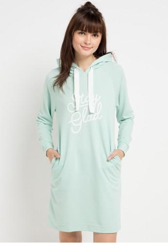 ULTRAVIOLET BY COME green Pastel Hoodie Dress 553EAAA4AECBDDGS_1