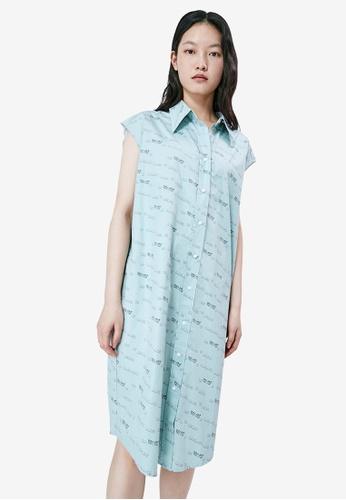 URBAN REVIVO blue Cap Sleeve Shirt Dress 307D7AA3BE54B4GS_1