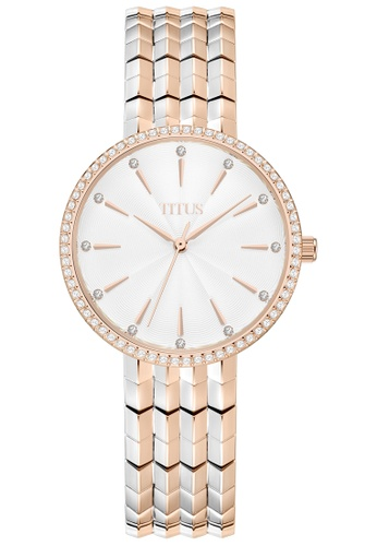 Solvil et Titus white and gold Women's Analogue Quartz 2 Tone Bracelet Watch In Crystal Bezel And Rose Gold Stainless Steel Bracelet 5630BAC426E529GS_1