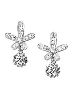 Alluring Flower Silver Earrings