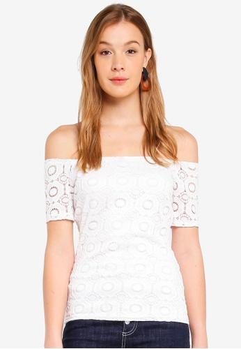 48f4e3d90dd309 Buy Dorothy Perkins Ivory Lace Bardot Top Online on ZALORA Singapore