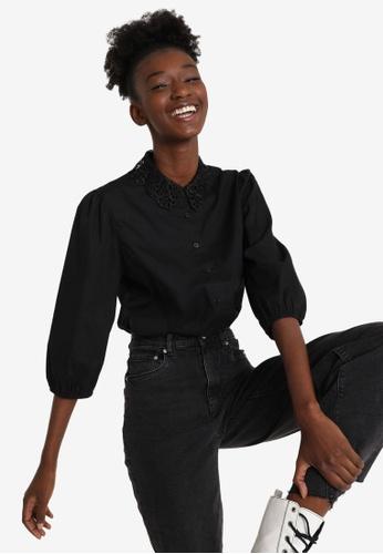 PIMKIE black Embroidered Collar Shirt 18C73AA398C3CBGS_1
