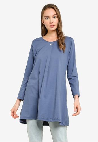 Aqeela Muslimah Wear grey Button Box Pleat Top CCE79AA6A3910FGS_1