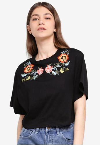 Something Borrowed black Embroidered Drop Shoulder T-Shirt 8DB75AAFD5977DGS_1