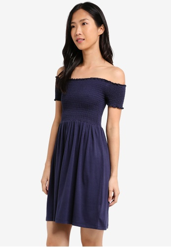 ZALORA BASICS navy Essential Smocked Dress 3D565AAC27B1E5GS_1