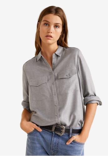 Mango grey Flap Pocketed Shirt D8DCCAA859A175GS_1