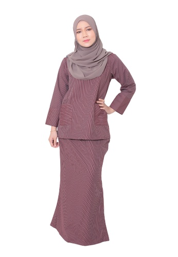 Baju Kurung Camelia from AALIA in Red and Brown