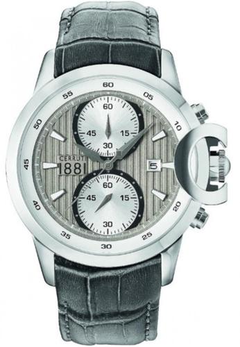 CERRUTI 1881 grey Chieti Chronograph Grey Leather Strap Men Watch  CE514AC75QNCMY_1