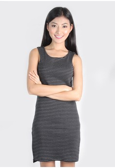 Bodycon Stripe Side slit dress