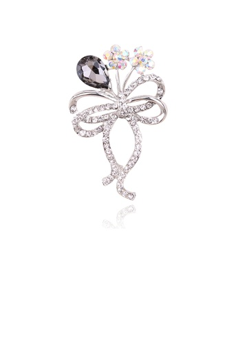 Glamorousky white Fashion and Elegant Grey Flower Brooch with Cubic Zirconia 6E41CACB8D2AAEGS_1