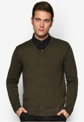 拼色肘貼zalora 心得 ptt基本款V 領長袖織衫, 服飾, 服飾
