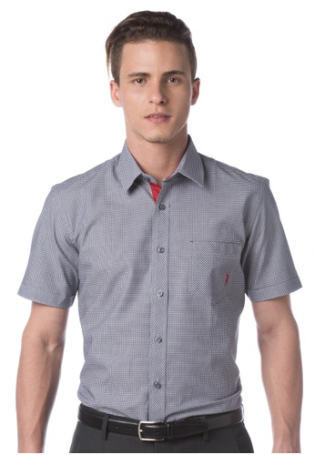 POLO HAUS multi Polo Haus - Woven Short Sleeve Shirt (Black/White) PO783AA36MLVMY_1