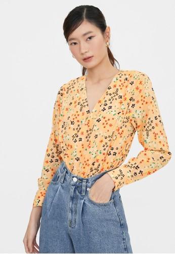 Pomelo orange Long Sleeve Floral Bodysuit - Orange 09468AA7DE11BFGS_1