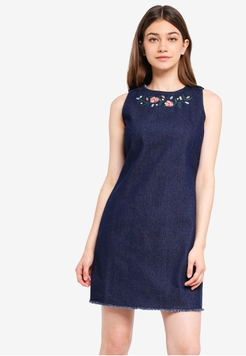 Something Borrowed blue Embroidered Denim Shift Dress DFF04AA8BECD8CGS_1
