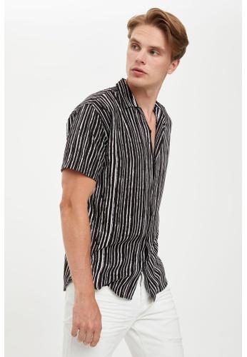 DeFacto black Man Woven Top Short Sleeve Shirt CA80AAA8575179GS_1
