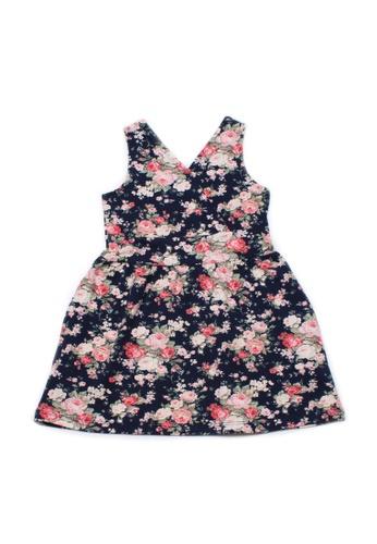 Mini Moley navy Floral Print Criss Cross Girl's Dress 8BD99KA0B5DC14GS_1