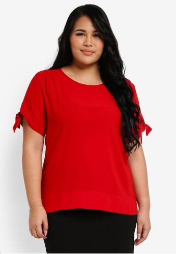 Ex'otico red Plus Size Short Sleeve Boat Neck Blouse EX373AA0SL8OMY_1