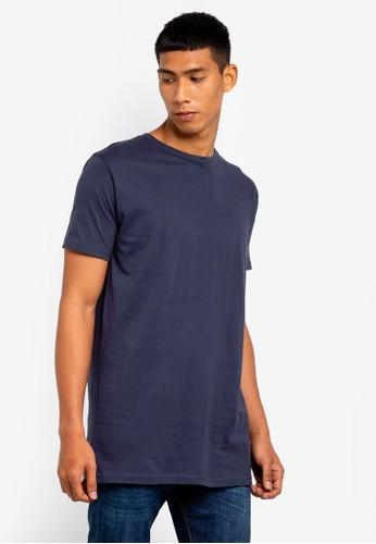 Brave Soul navy Longline Crew Neck T-Shirt 4A7C0AA143CFF2GS_1