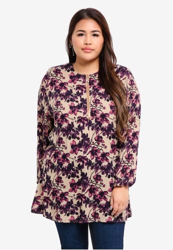 BYN purple Plus Size Muslimah Blouse D72D0AA28D6ED9GS_1