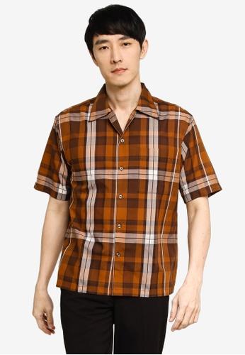 GLOBAL WORK beige Checkered Shirt B53B1AA33EC99BGS_1