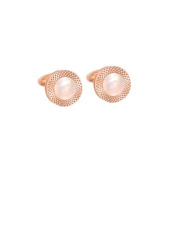 Glamorousky silver Fashion Simple Plated Rose Gold Geometric Round Cufflinks 51366AC7403B63GS_1
