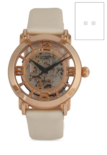 Stuhrling Original white and gold Lady Winchester 156 Watch Set 4376AACBC4CFD8GS_1
