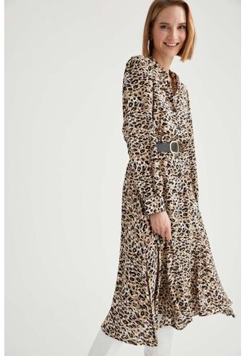 DeFacto brown Long Sleeve Midi Dress 587B9AA592DAD0GS_1