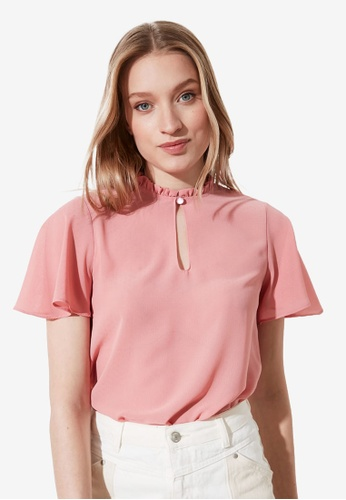 Trendyol pink Mandarin Collar Detail Top CC8F2AA891DA42GS_1