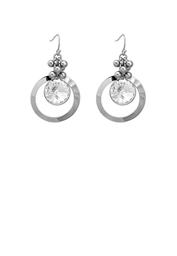 Glamorousky silver Glittering Round Earrings with Silver Austrian Element Crystal 48284AC3E7F034GS_1